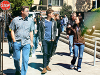 students and staff walking