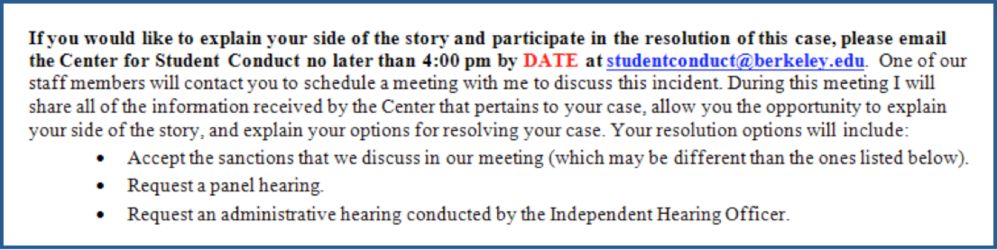 Yes I would like to meet with the staff of the Center for Student Conduct