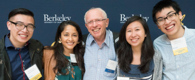 Scholarship recipients pose with a faculty mentor and a staff member at the CalOp 15-Year Anniversary Reception. Pictured left to right is David Leung, Yesenia Mendoza Muller (staff), Ilan Roth (faculty mentor), Nguyet Duong, Henry Kwan.