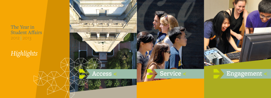 student and campus images with buttons for access, service and engagement